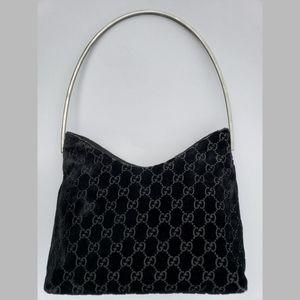 Gucci Tom Ford Monogram Black Velvet Shoulder Bag